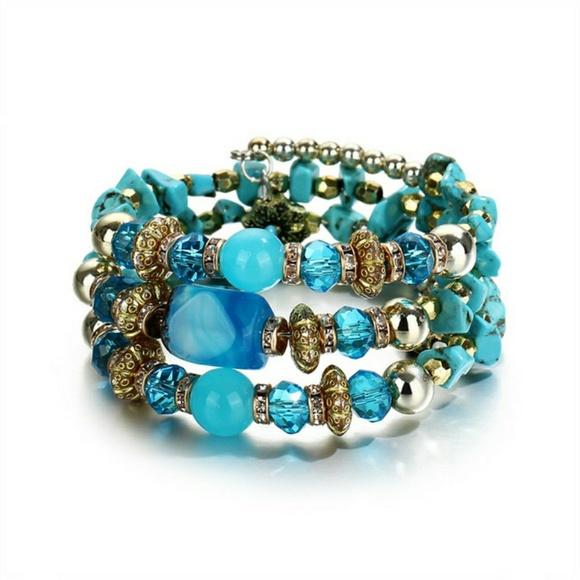 none Jewelry - Cuff Wrap Memory Wire Bead Bracelet Light Blue